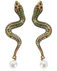 Roberto Cavalli - Crystal Snake Earrings - Lyst
