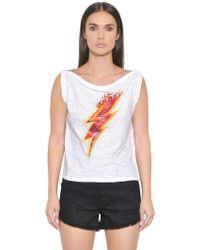 Just Cavalli - Lighting Bolt Print Cotton Jersey Top - Lyst