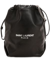 Saint Laurent - Logo Printed Leather Bucket Bag - Lyst