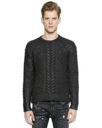 DSquared² - Coated Wool Blend Cable Knit Jumper - Lyst