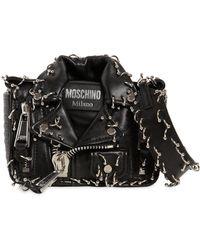 Moschino - Piercing Biker Leather Shoulder Bag - Lyst