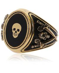 Alexander McQueen - Skull Enameled Brass Ring - Lyst