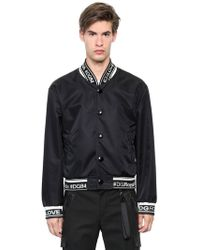 Dolce & Gabbana - Hashtags Nylon Canvas Bomber Jacket - Lyst