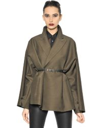 Jean Paul Gaultier - Belted Wool Blend Taffeta Coat - Lyst