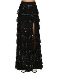 Filles A Papa - Sequined Ruffled Mesh Maxi Skirt - Lyst