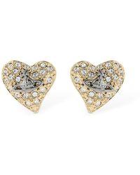 Vivienne Westwood - Small Logo Diamante Stud Earrings - Lyst