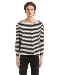 Garçons Infideles - Distressed Striped Cotton T-shirt - Lyst