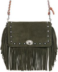 COACH | Dinky Fringed Suede Chain Shoulder Bag | Lyst
