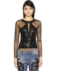 Amen - Sequin Embellished Tulle Bodysuit - Lyst