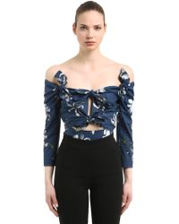 Isa Arfen - Floral Print Off The Shoulder Cotton Top - Lyst