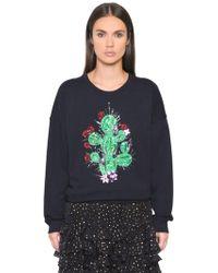 Just Cavalli - Cactus Embroidered Cotton Sweatshirt - Lyst