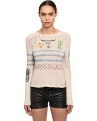 Saint Laurent - Printed Cactus Cotton Knit Sweater - Lyst