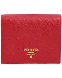 Prada - Small Saffiano Leather Snap Wallet - Lyst