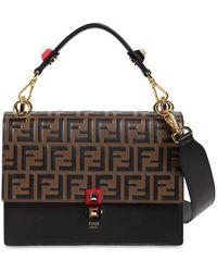 Fendi - Medium Kan I Logo Embossed Leather Bag - Lyst