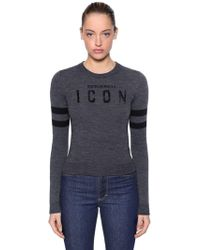 DSquared² - Icon Flocked Wool Blend Knit Sweater - Lyst