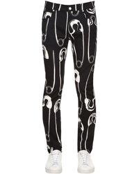 Moschino 17.5cm Printed Cotton Denim Jeans - Black