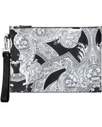 Versace - Baroque Printed Large Leather Pouch - Lyst