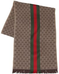 Gucci - Écharpe En Soie Et Laine Avec Logo - Lyst