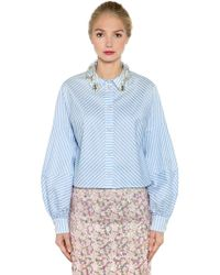 Antonio Marras - Embellished Striped Cropped Cotton Shirt - Lyst