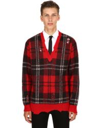 Alexander McQueen - Checked Print With Distressed Details Wool-blend Sweater - Lyst