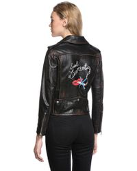 Saint Laurent - Printed Distressed Nappa Leather Jacket - Lyst