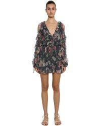 c544a2ec3a Lyst - Zimmermann Floral Silk Chiffon Belted Jumpsuit in Black