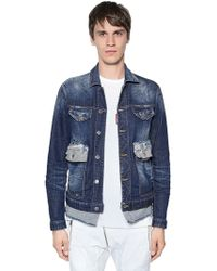 DSquared² - Cotton Denim Jacket W/ Contrasting Hem - Lyst