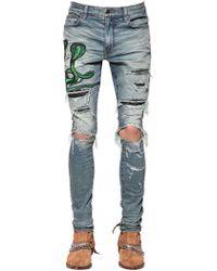 Amiri - 15cm Jeans Aus Denim Mit Schlangenleder - Lyst