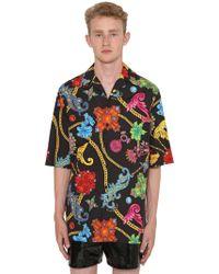 Versace - Bowlinghemd Aus Baumwolle Mit Druck - Lyst