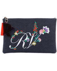 Roger Vivier - Rv Floral Embroidered Denim Pouch - Lyst