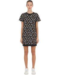 Lyst - Moschino Underbear Print Cotton Sweatshirt Dress in Gray 691801fa2