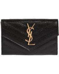 Saint Laurent - Small Quilted Leather Flap Wallet - Lyst