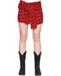 Faith Connexion - Lurex Plaid Heavy Gauze Mini Shirt Skirt - Lyst