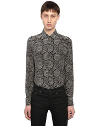 "Saint Laurent - Camicia ""yves"" In Seta - Lyst"