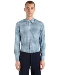Prada - Enges, Bedrucktes Hemd Aus Baumwollpopeline - Lyst