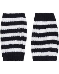 Gucci - Stripe Wool Cable Knit Fingerless Gloves - Lyst
