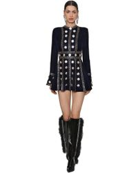 RAISA & VANESSA - Crystals Embellished Velvet Mini Dress - Lyst