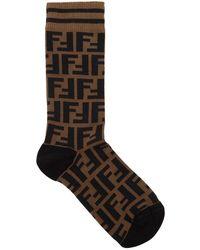 Fendi - Logo Stretch Cotton Socks - Lyst