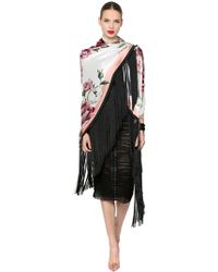 Dolce & Gabbana - Floral Silk Satin Shawl With Fringe - Lyst