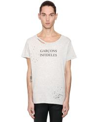 Garçons Infideles - Logo Printed Distressed Jersey T-shirt - Lyst