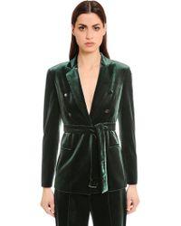 Akris | Single Breasted Belted Velvet Jacket | Lyst