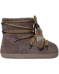 DSquared² - Suede Snow Ankle Boots W/ Fur Tassels - Lyst
