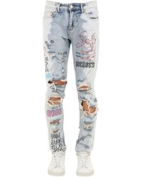 """Lifted Anchors - Jeans Slim Fit """"capulet"""" In Denim Destroyed - Lyst"""