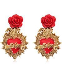Dolce & Gabbana | Rose & Heart Clip-on Earrings | Lyst