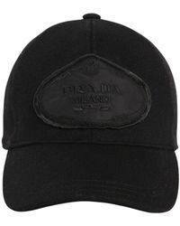 Prada - Logo Patch Wool Baseball Hat - Lyst