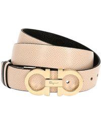 Ferragamo - 20mm Reversible Gancio Leather Belt - Lyst