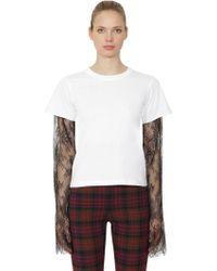 Philosophy Di Lorenzo Serafini - Cotton Jersey & Lace Long Sleeve T-shirt - Lyst