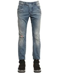 Balmain | Jeans Biker In Denim Stretch Destroyed 17cm | Lyst