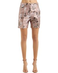 Rochas - Floral Printed Duchesse Satin Shorts - Lyst