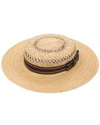 Kreisi Couture - Michelle Straw Boater Hat - Lyst